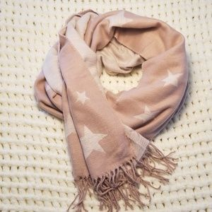 GAP pink white star scarf fringe rough edge